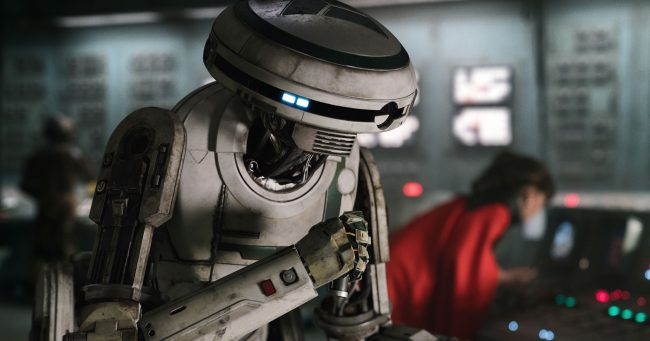Phoebe Waller-Bridge as the droid L3-37 droid.