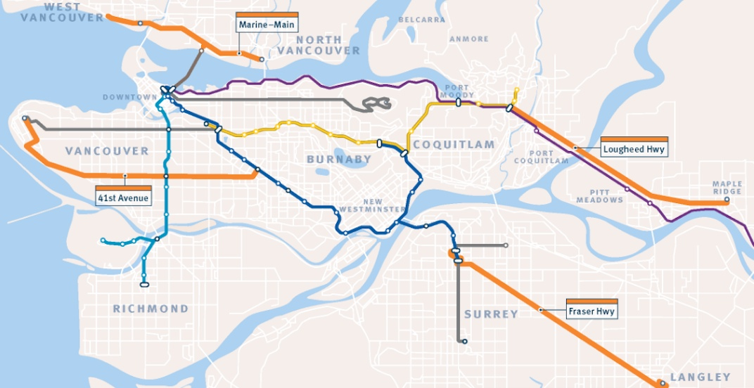 B line rapid bus map 2019 translink