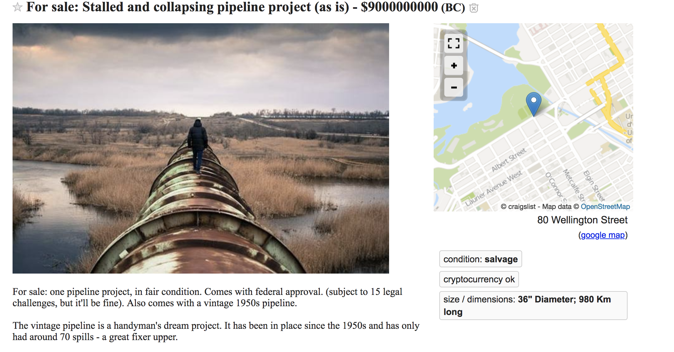 The Kinder Morgan Pipeline is listed for 'sale' on Craigslist for $9 billion