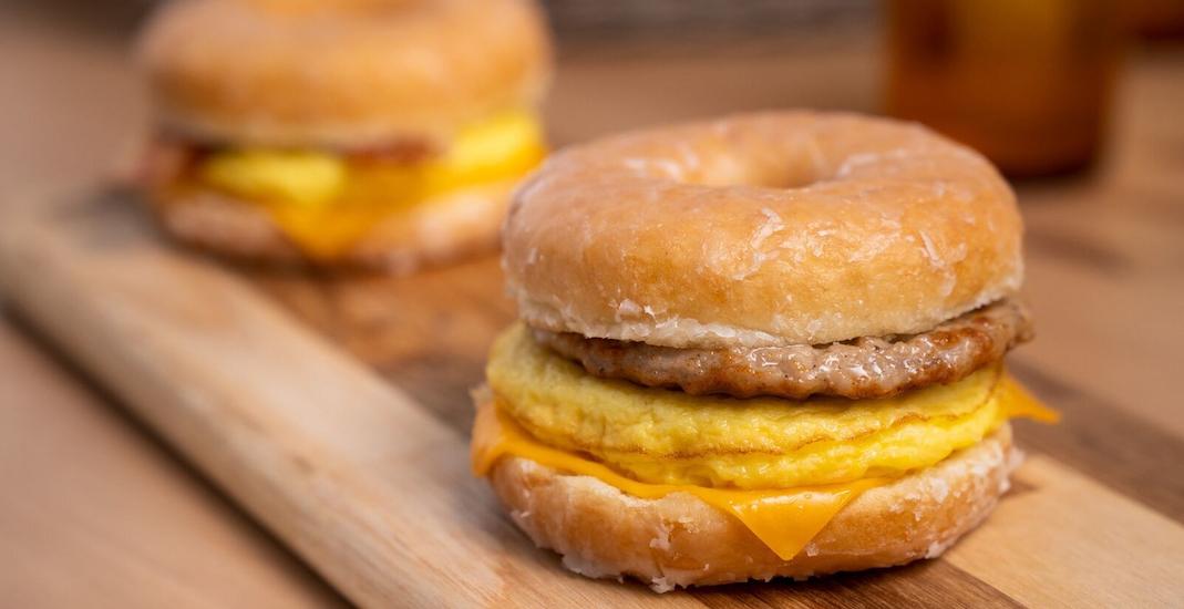 Tim hortons doughnut breakfast sandwich