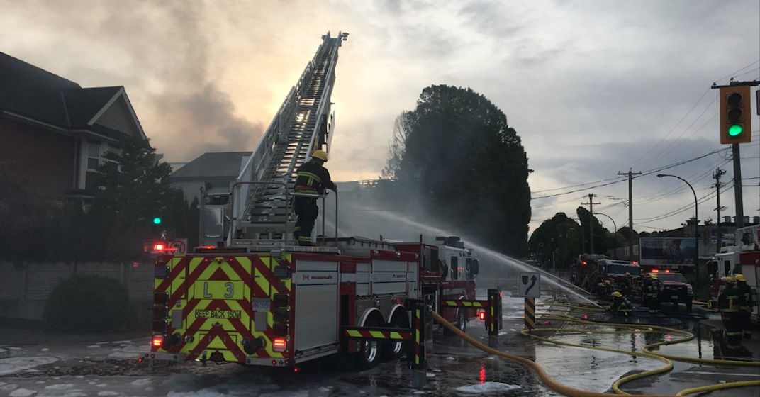 Three-alarm fire engulfs four homes in East Vancouver Thursday morning (VIDEO)