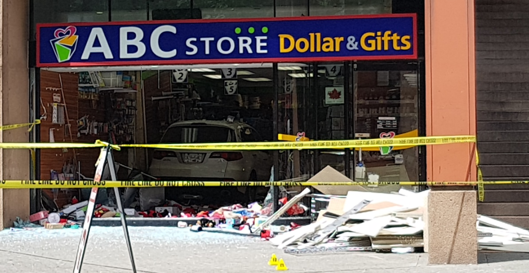 Robson Street closed after car crashes into Library Square store (PHOTOS)