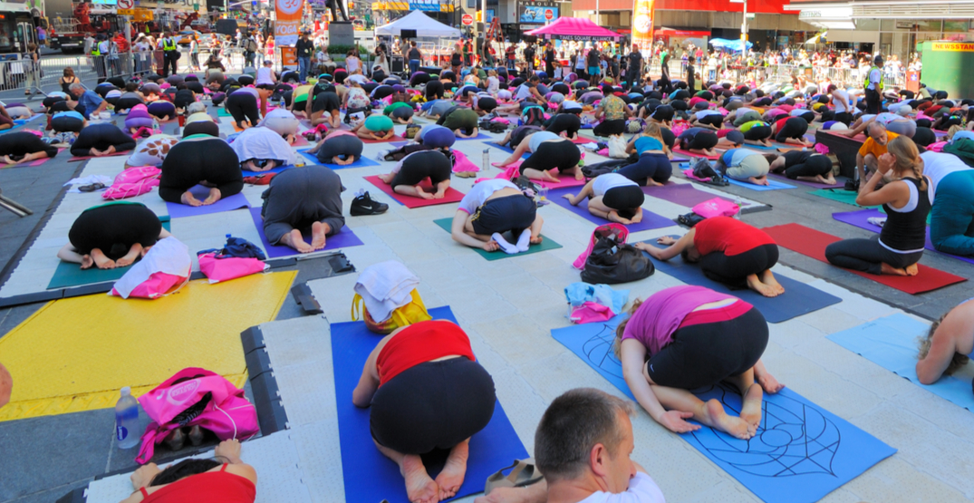 You can do yoga at Yonge-Dundas Square for FREE this summer