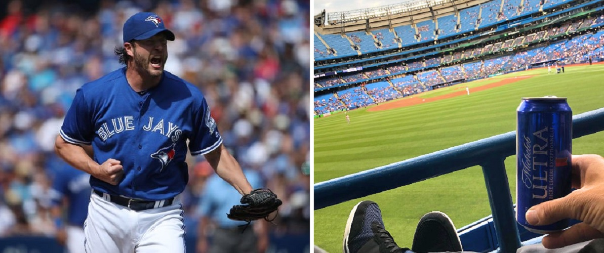 Former Blue Jays pitcher Jason Grilli watches the game from the stands