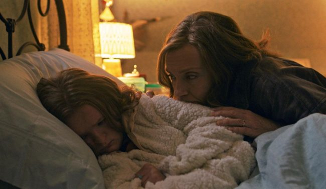 Toni Collette and Milly Shapiro in Hereditary.
