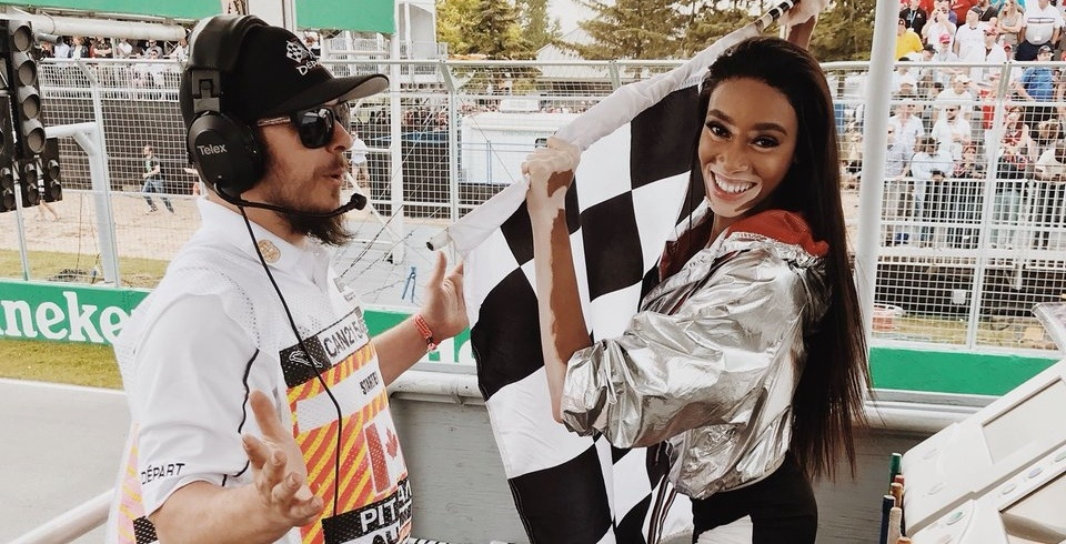 Canadian supermodel waves the checkered flag too early at the Grand Prix