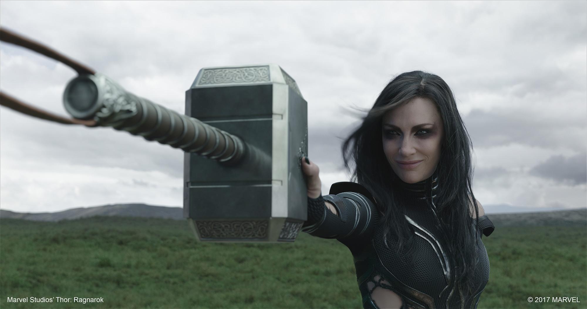 Hela holds back Thor's hammer in Marvel Studios' Thor: Ragnarok (© 2017 Marvel)