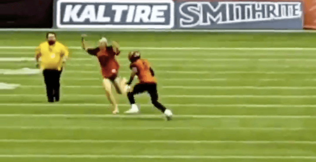 BC Lions player tackles streaker at home opener (VIDEOS)