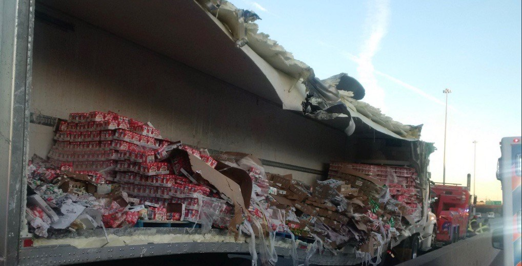 Huge yogurt spill shuts down several lanes of 401 this morning