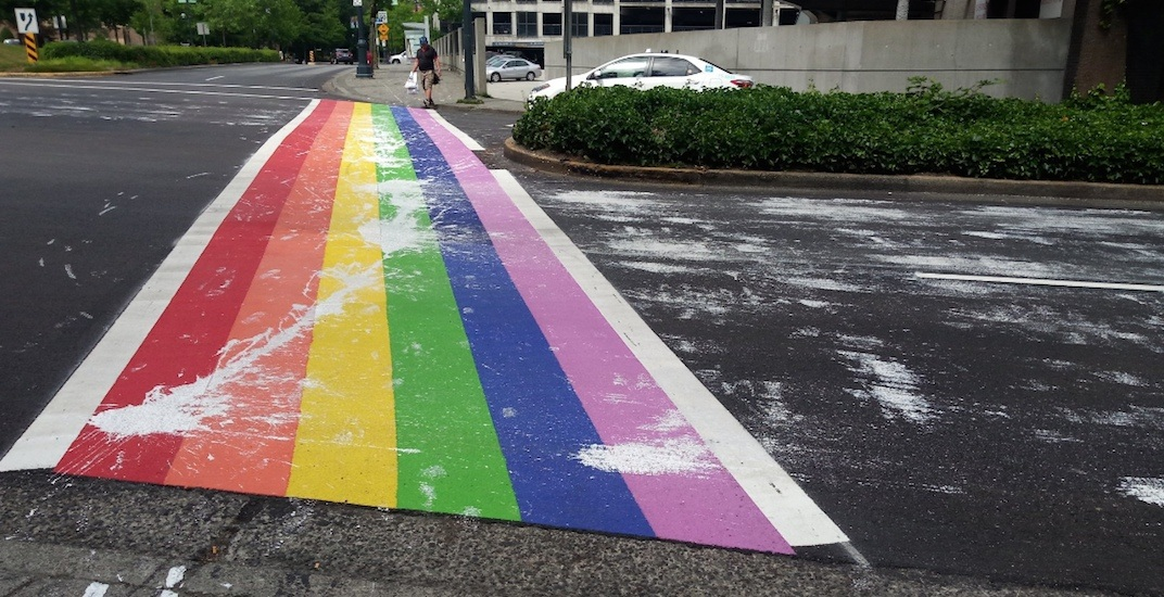 Surrey LGBTQ rainbow crosswalk vandalized just days after completion