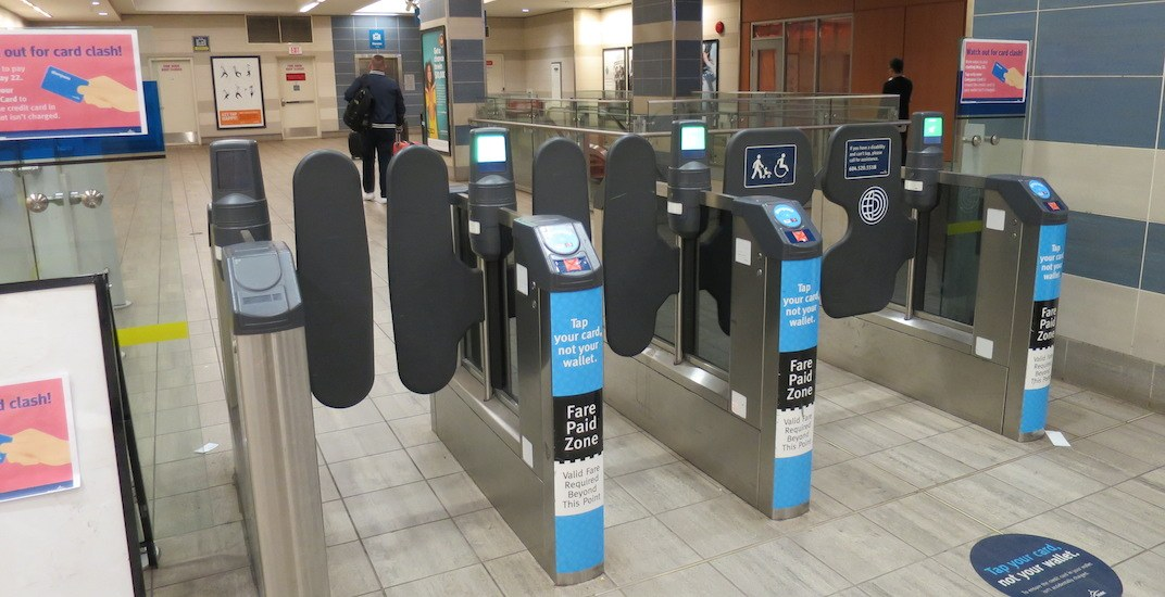 Yaletown roundhouse station canada line fare gates translink