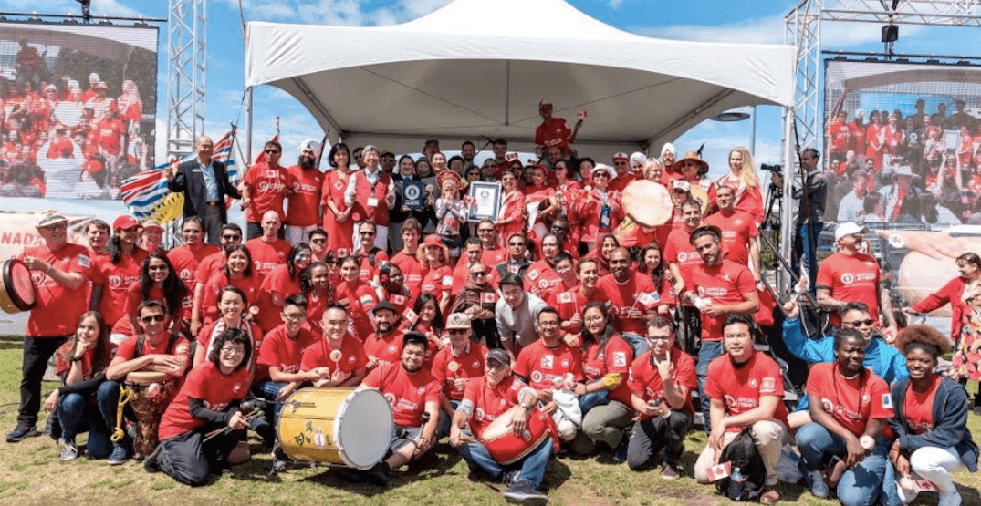 Drum group sets Guinness World Record in Vancouver on Canada Day