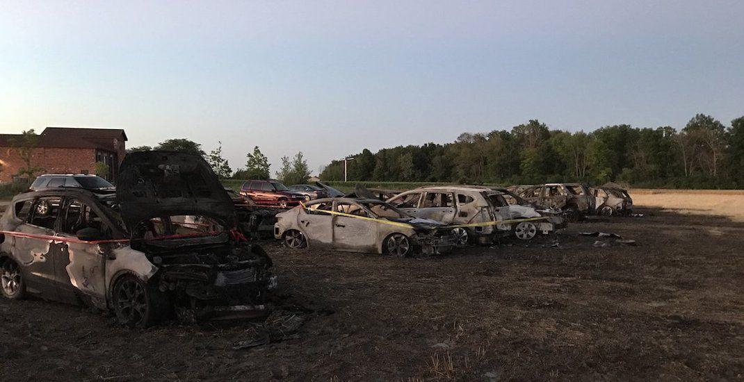 Massive grass fire erupts at Niagara-on-the-Lake Lavender Festival