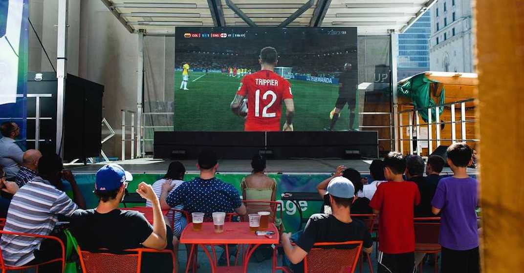 You can watch the World Cup on a big outdoor screen in downtown Toronto