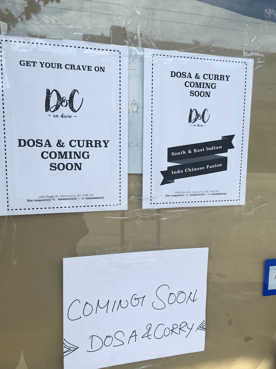 Dosa & Curry on Davie opening