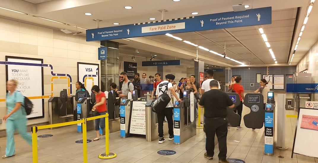 Canada line vancouver city centre station fare gates f