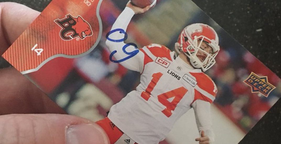 Young CFL fan autographs football card for BC Lions QB Travis Lulay
