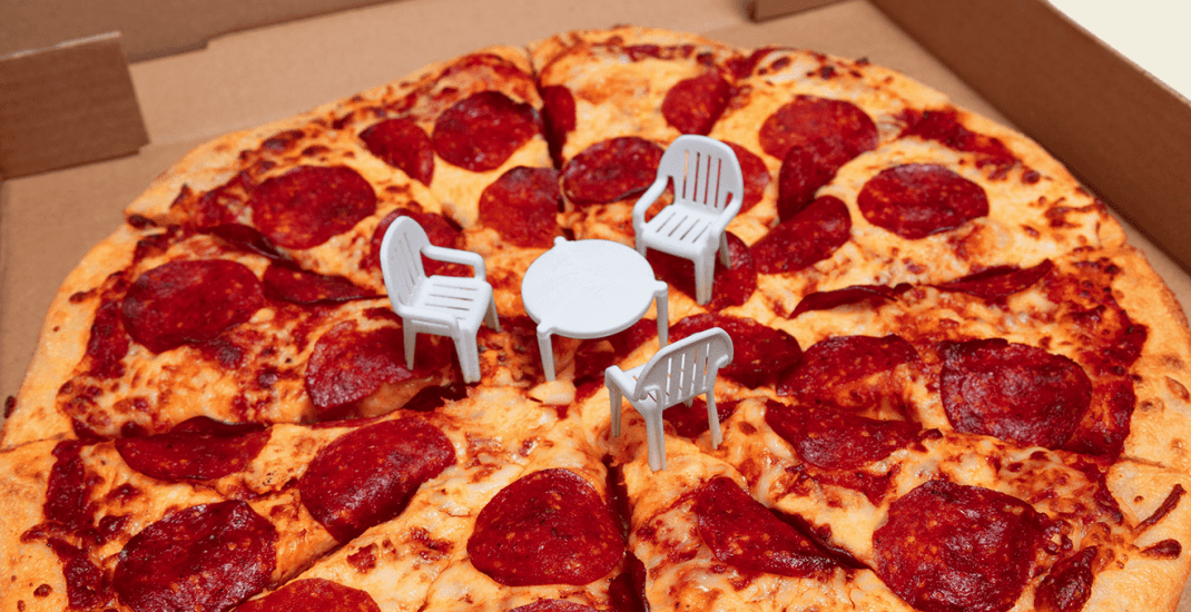 Canadian pizza chain teases tiny patio furniture on top of pizzas