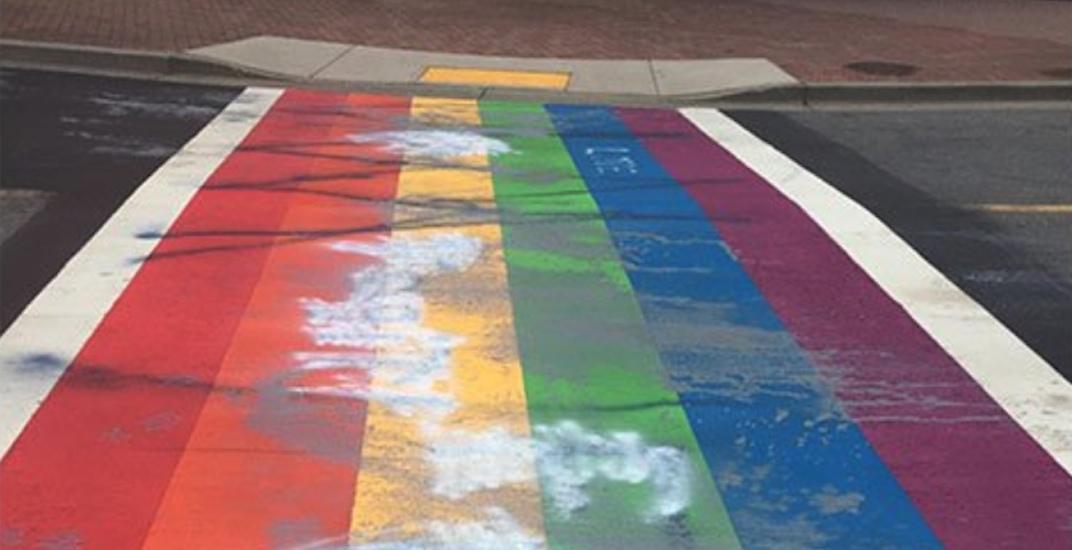 White rock pride rainbow crosswalk vandalism 2018 1