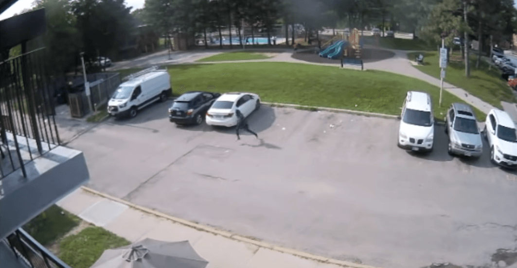 Surveillance footage shows children running from drive-by shooting in North York (VIDEO)