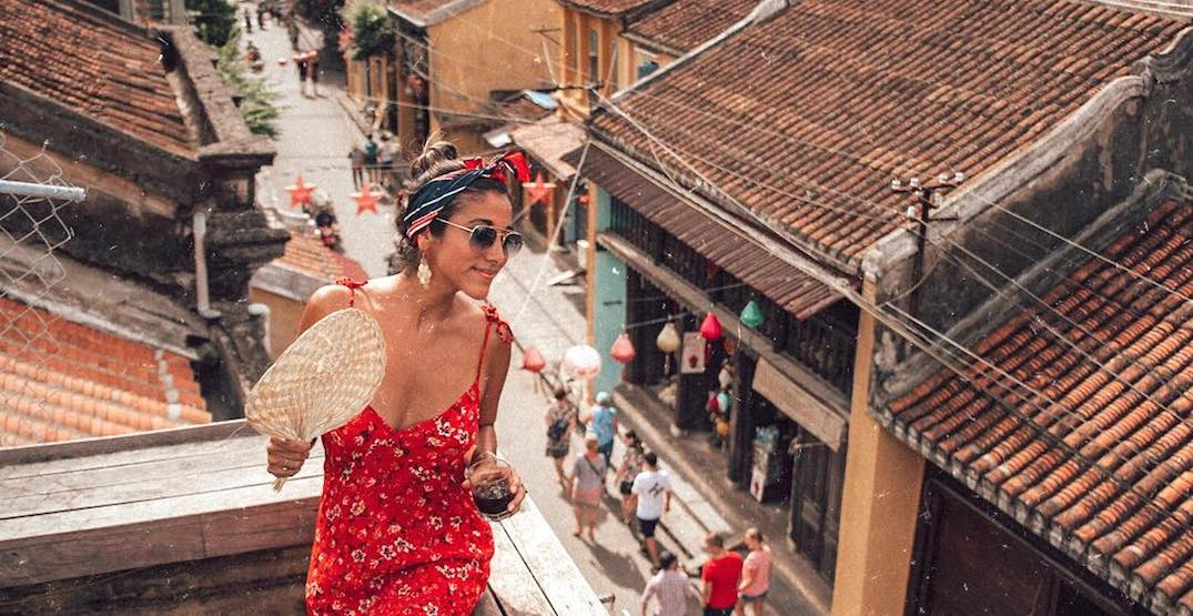 Fanning on a rooftop in hoi an.