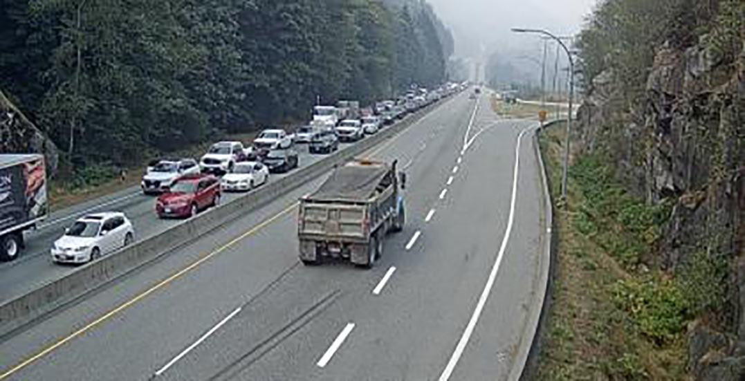 Rolled semi-truck leaves Sea to Sky highway partially closed
