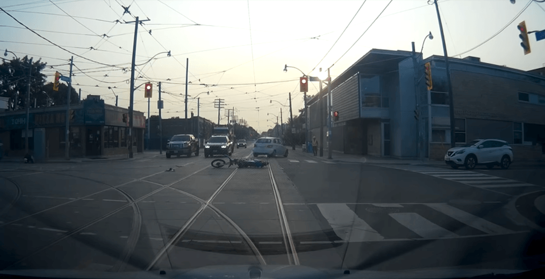 Dash-cam footage captures dramatic motorcycle crash on Queen Street East (VIDEO)