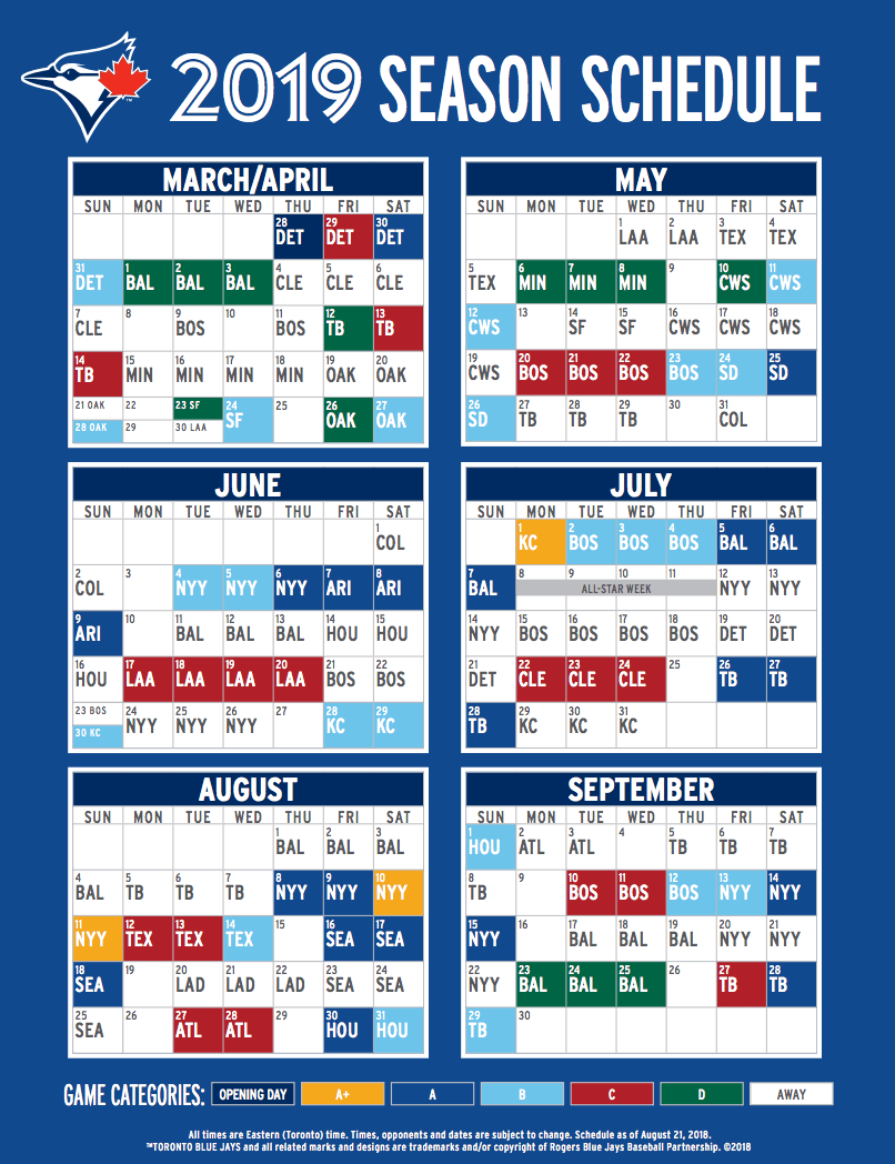 blue jays reveal 2019 regular season schedule | daily hive vancouver