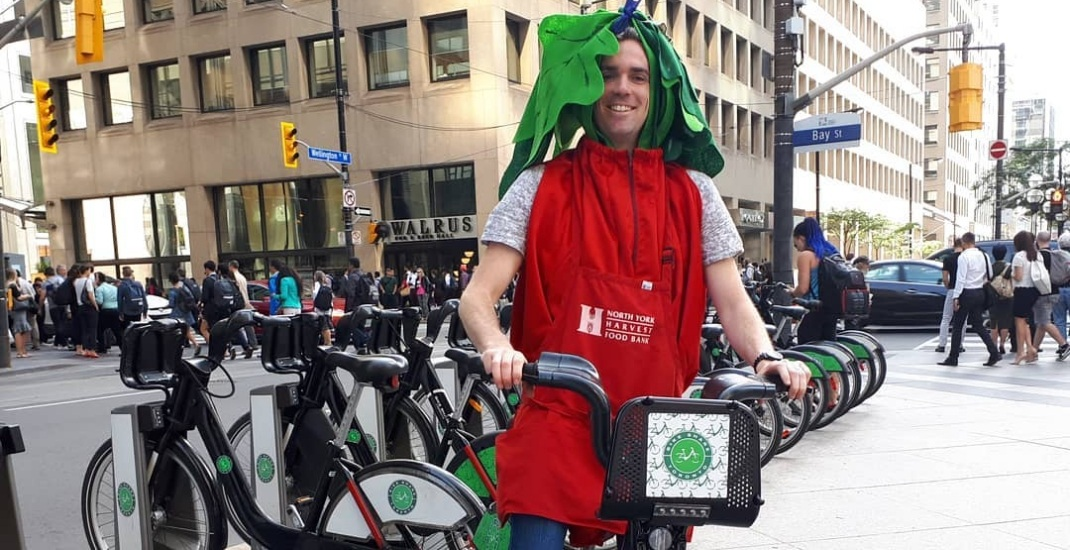 Toronto commuter dresses like a radish for every $1,000 raised for food bank