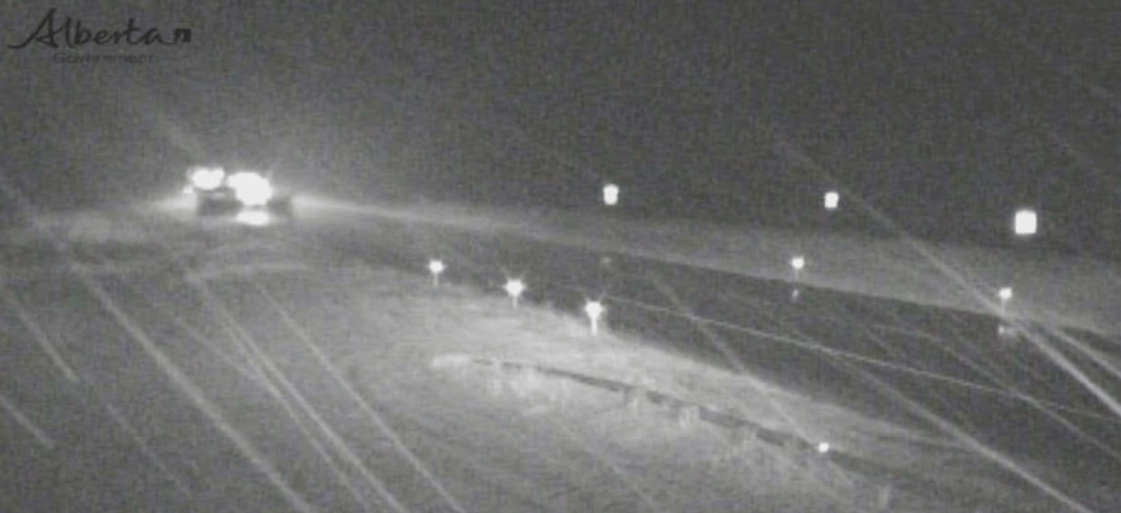 It was snowing on Highway 1 between Calgary and Canmore