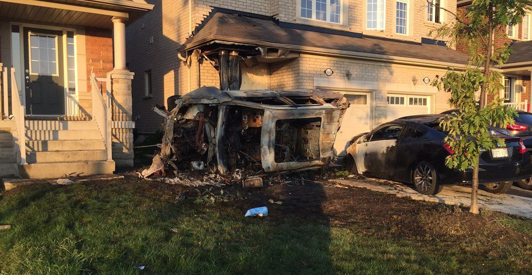 3 injured after vehicle crashes into home, erupts into flames in Brampton