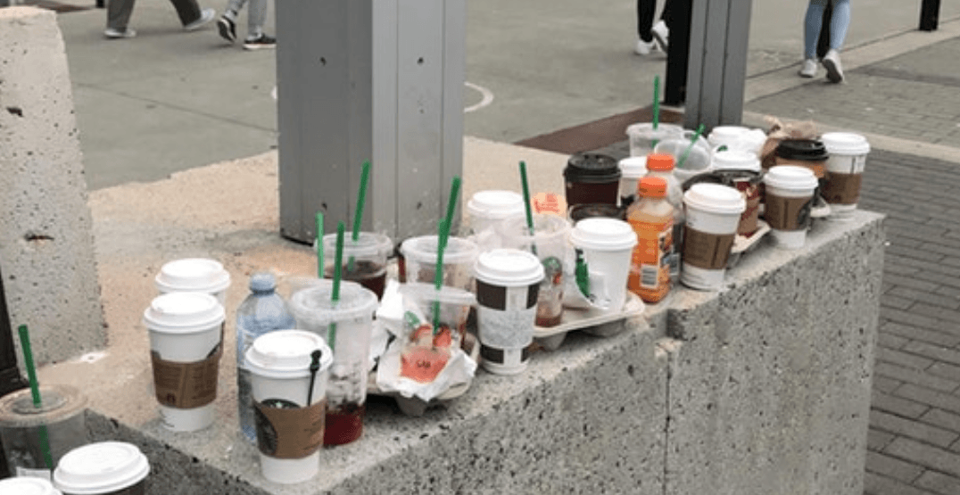This concrete block near Canada Place is a graveyard for empty Starbucks cups