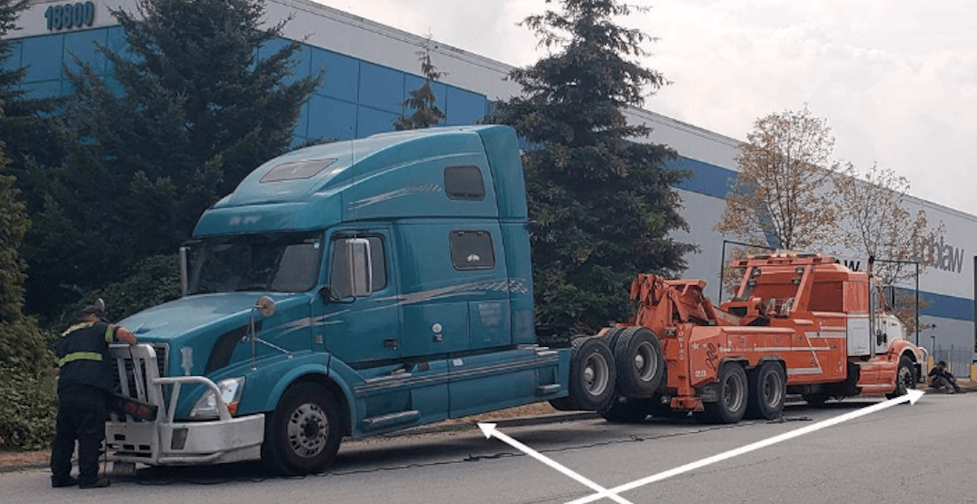 Semi-truck impounded for excessive speeding in Metro Vancouver construction zone