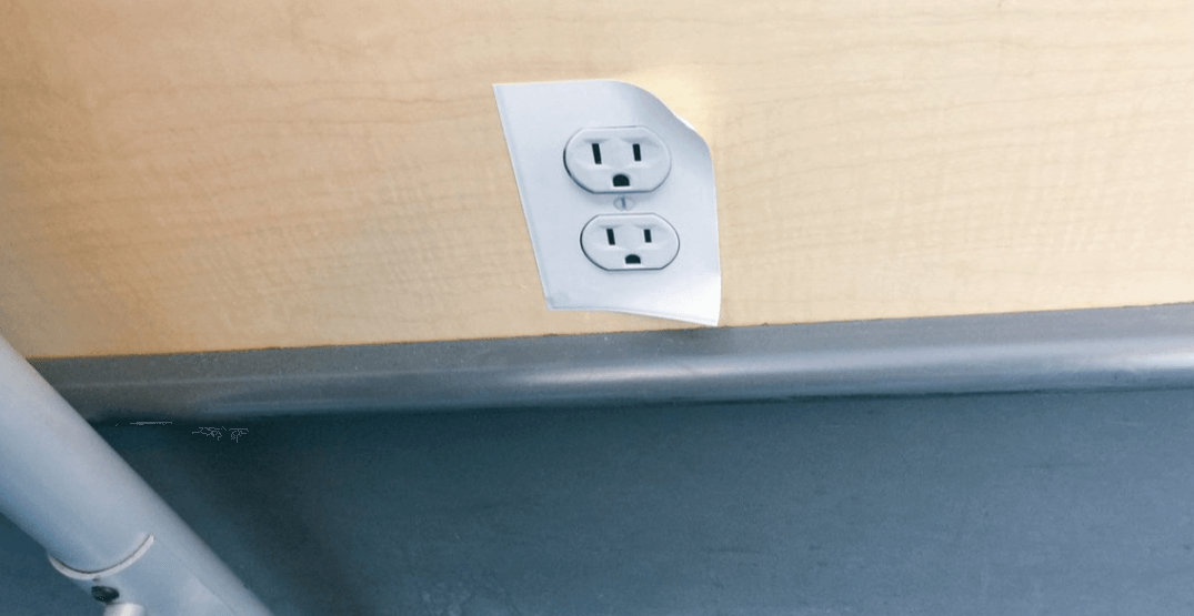 A power outlet sticker prankster is on the loose at Vancouver Airport