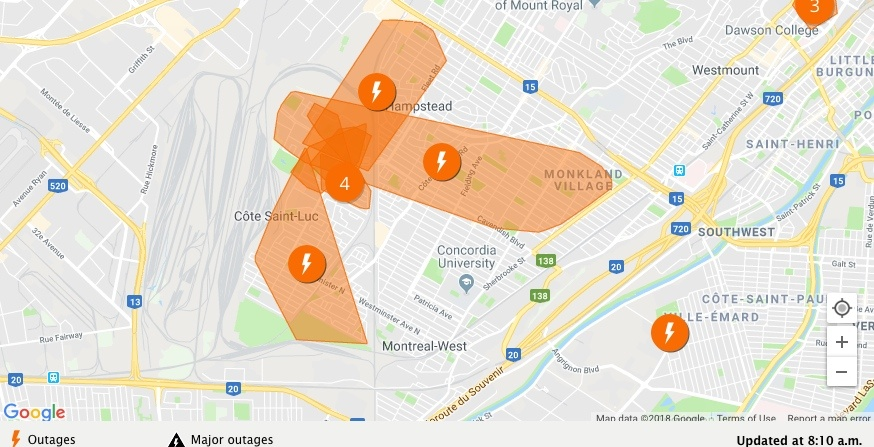 More than 10,000 people are without power this morning in Montreal