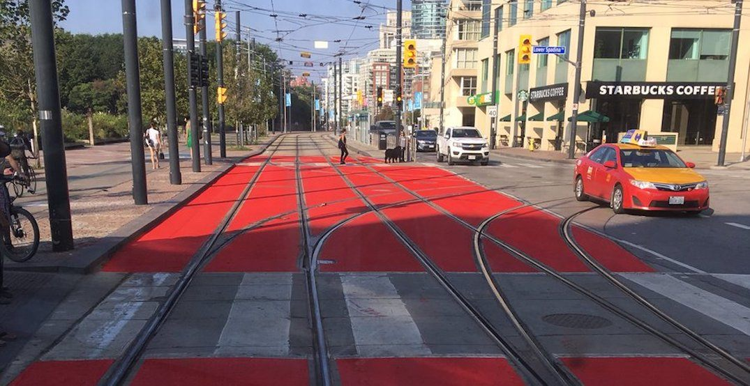 A portion of Queen's Quay was just painted red to clearly mark streetcar routes