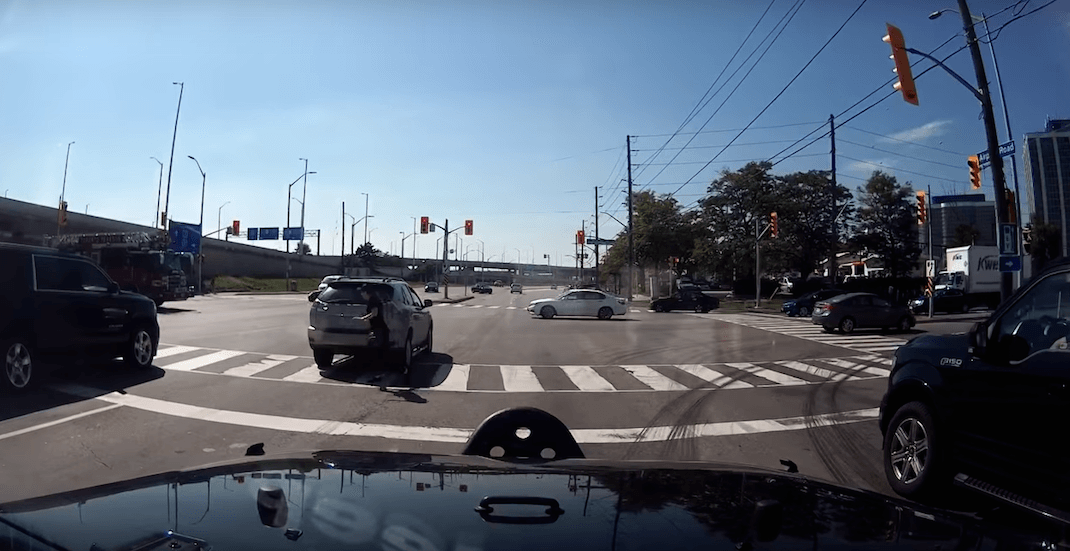 Dash-cam footage captures driver almost causing 3 accidents (VIDEO)
