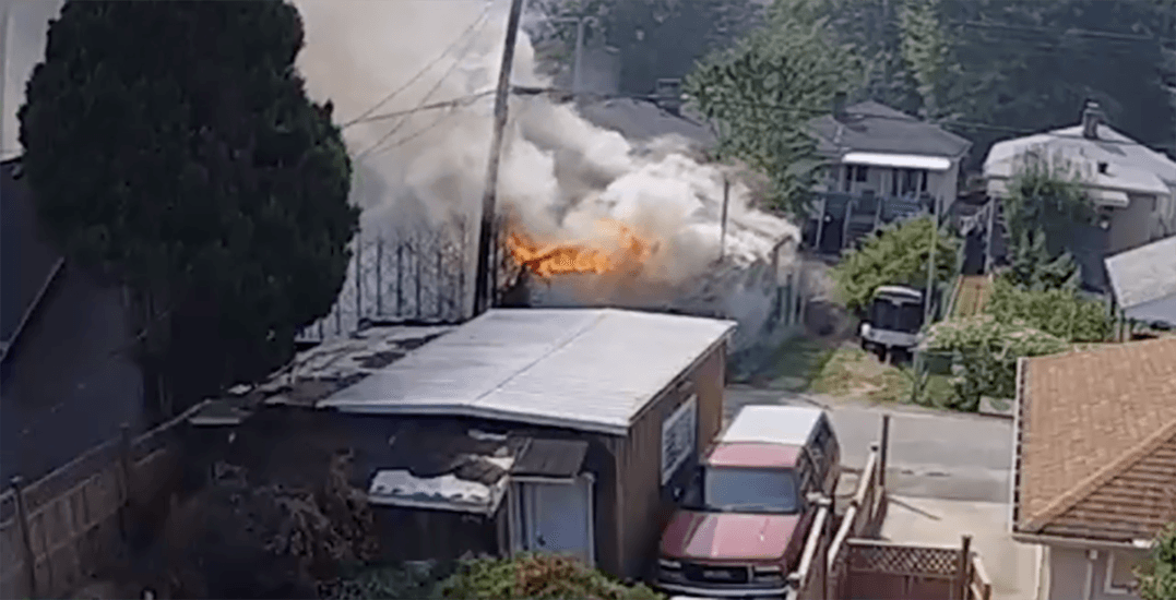 Police searching for arson suspect in costly East Vancouver fire (VIDEO)