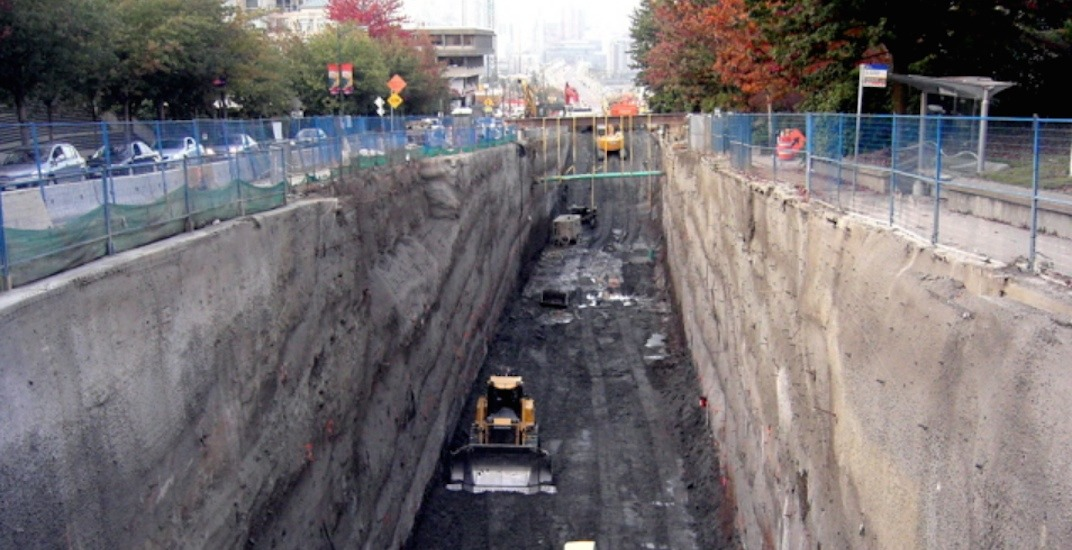 Canada line cut and cover tunnel construction