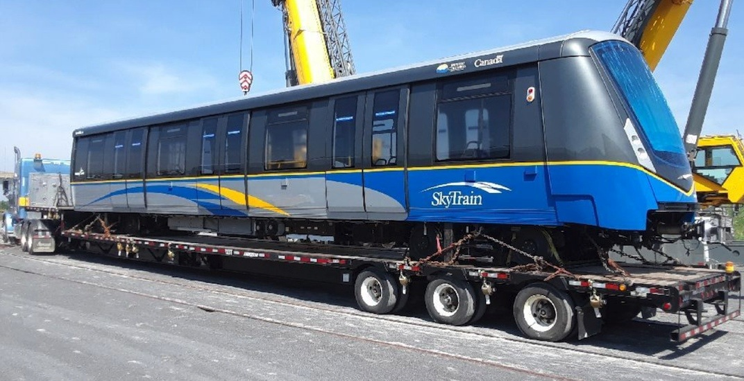 First of 56 new SkyTrain cars on the road to Vancouver from Ontario plant