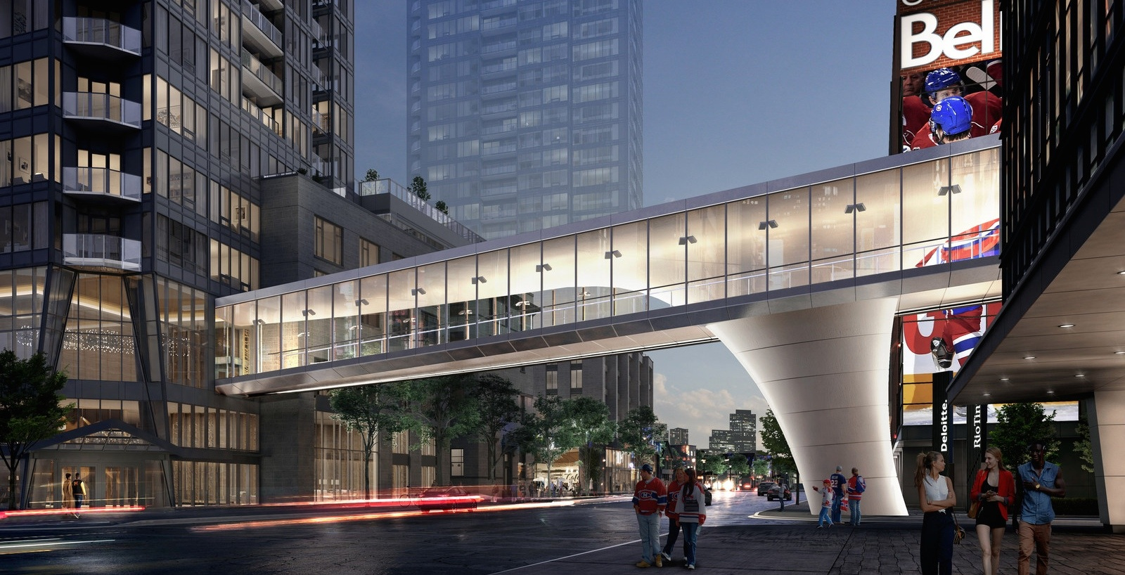 Plan revealed to connect Tour des Canadiens to Bell Centre with stunning skybridge