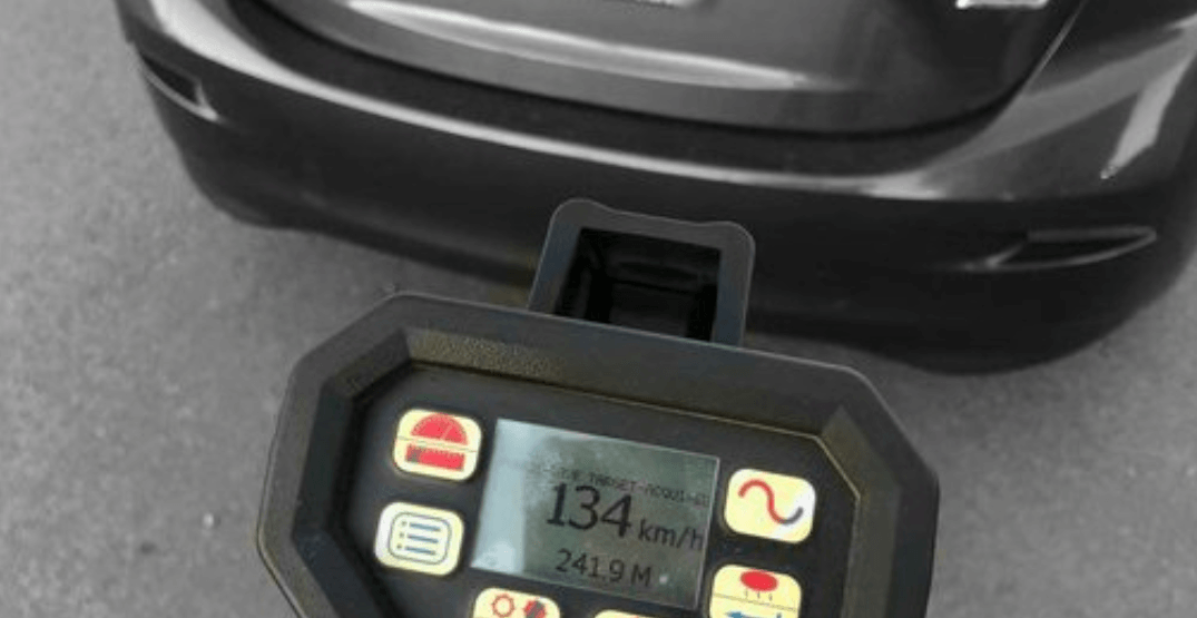 Richmond driver caught going 134 km/h in 50 km/h zone