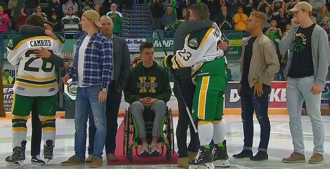 Canada watched as Humboldt Broncos return to ice for stirring season-opener