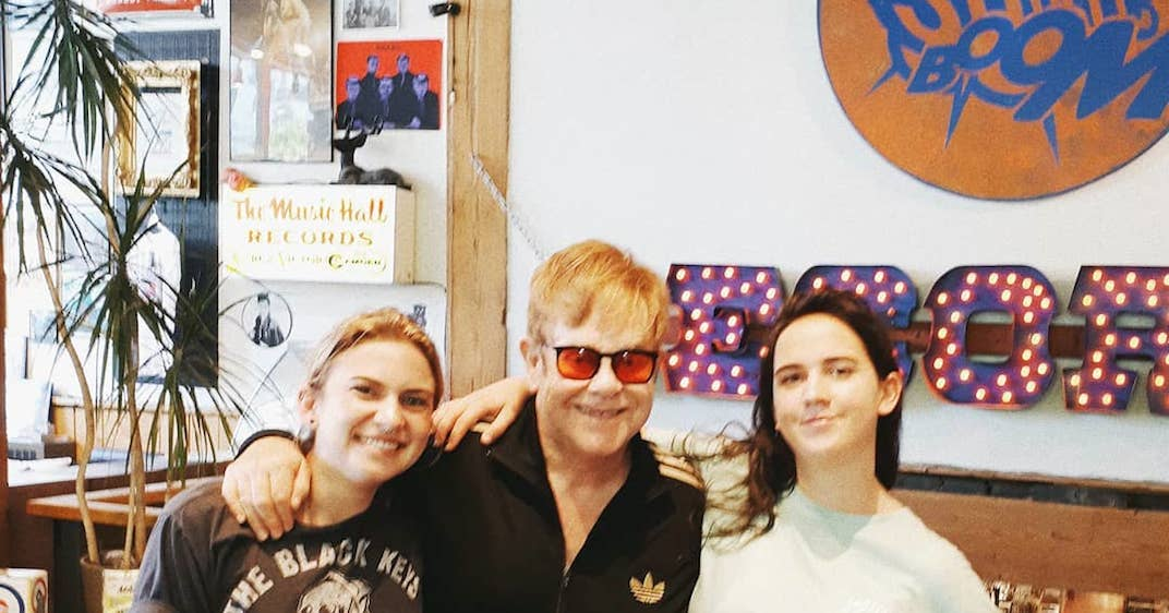 Elton John surprises local Toronto record store with a visit today
