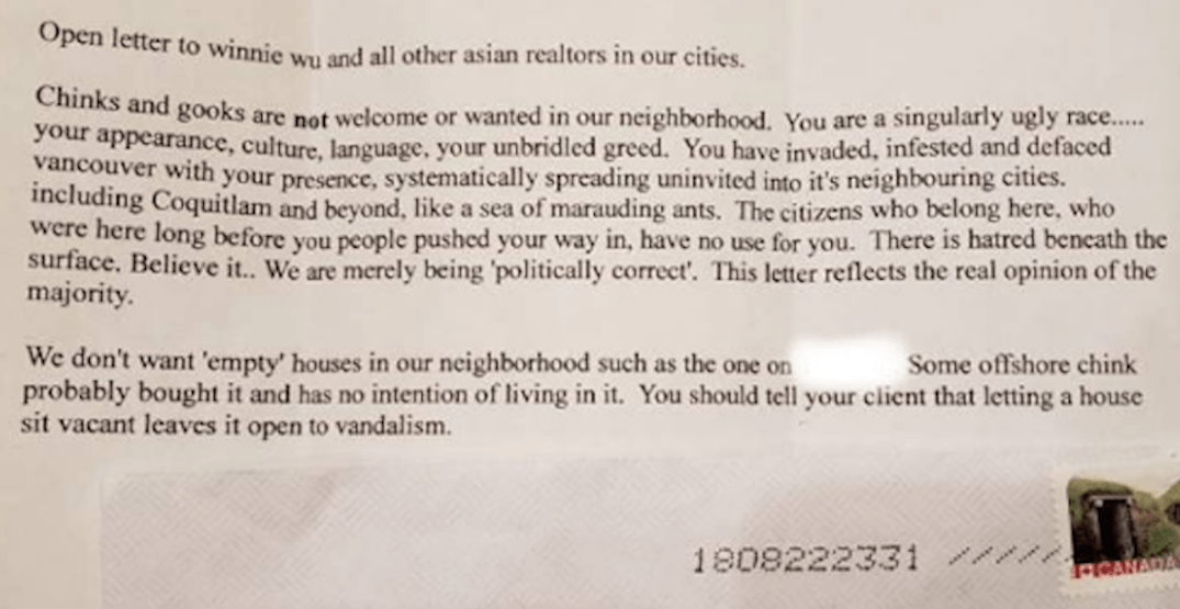 Metro Vancouver Realtor shares racist letter she received in the mail