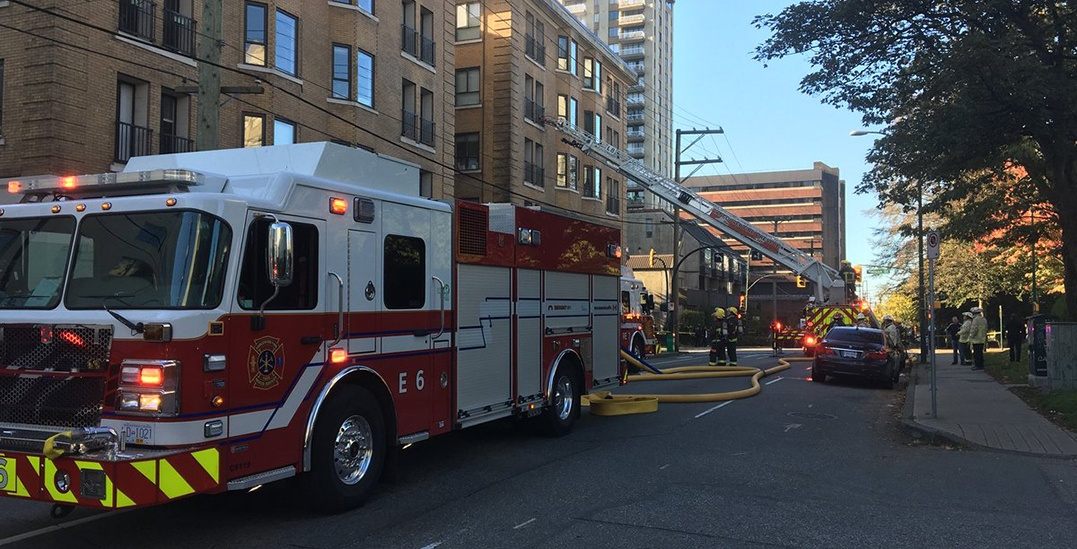 Emergency crews battling three alarm fire in downtown Vancouver