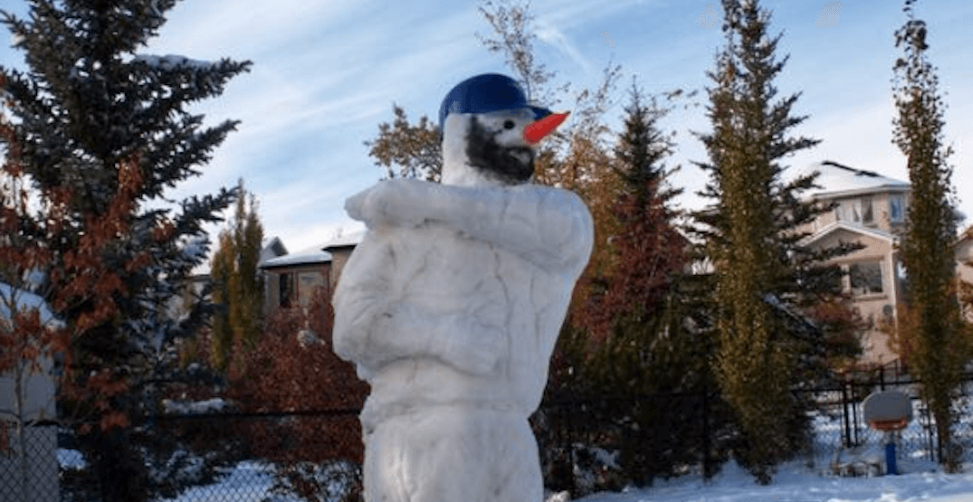 Someone just created a bat-flipping SnowBautista in Calgary