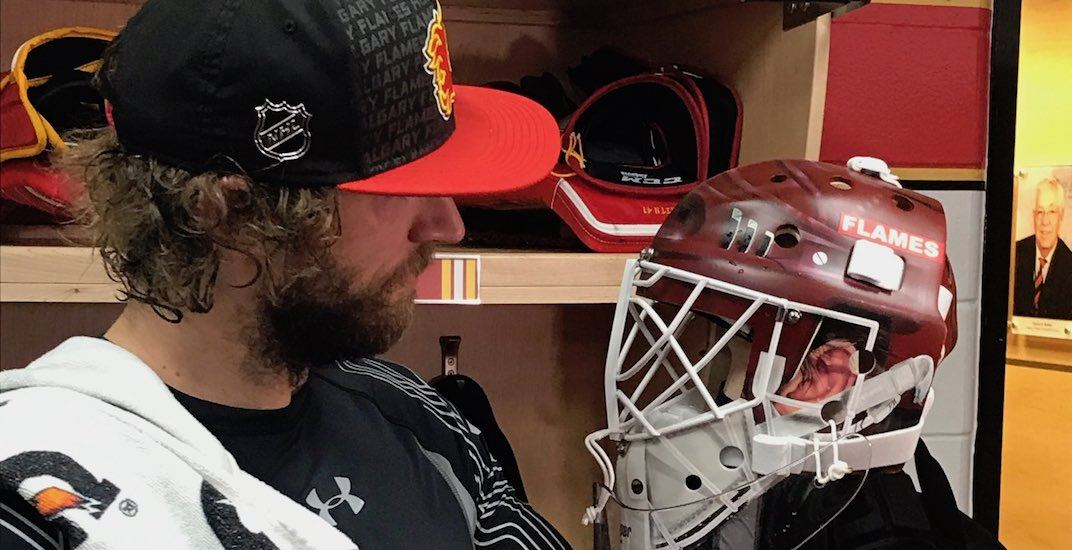 Mike Smith's New Retro Goalie Mask Honours Flames Great