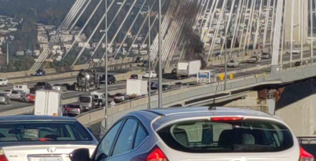 Morning vehicle fire briefly closes Port Mann Bridge