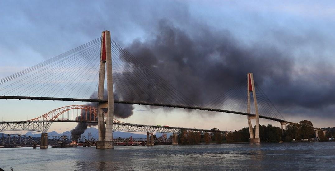 Fire crews battle massive barge fire on Fraser River